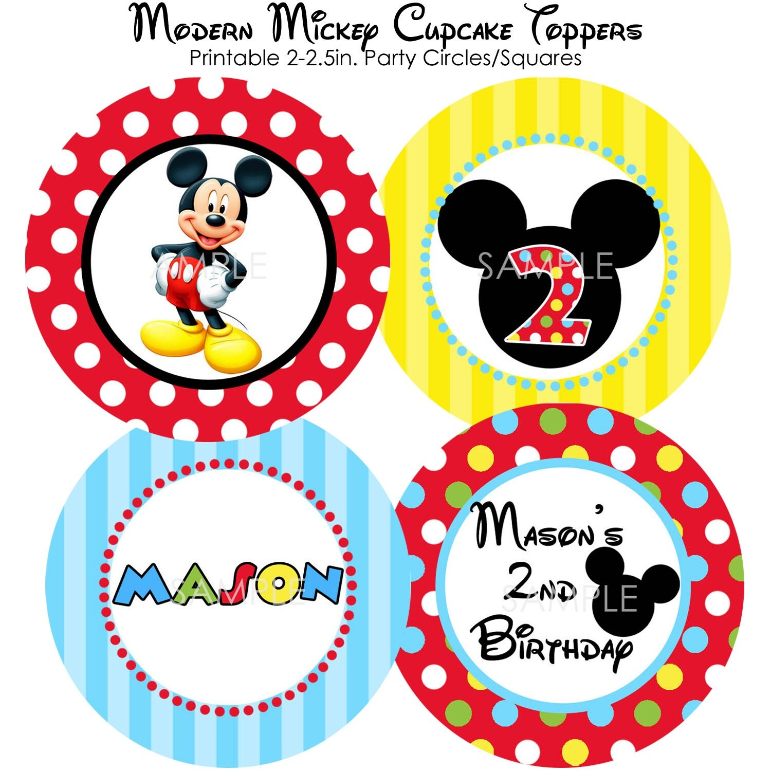 PRINTABLE Modern Mickey Mouse Cupcake Toppers by modpoddesignsMickey Mouse Cupcake Toppers
