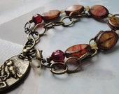Rustic Chain Nature Inspirational Charm Glass Bead Bracelet