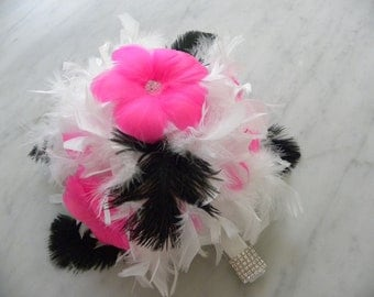 Pink,Black ostrich and White or ivory feather bouquet Bridal or Bridesmaids
