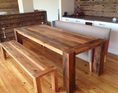 "BETH CUSTOM - Reclaimed Oak Beams- Dining Table ""The Corner Spot"" (Handmade)"