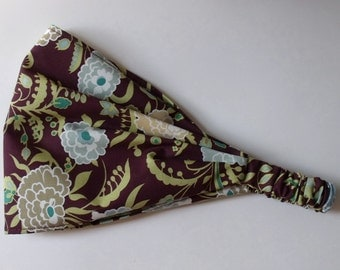 Cotton Yoga Headband - Gypsy Mum Wine - Amy Butler fabric