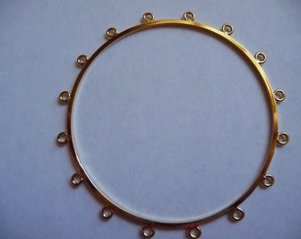 Bracelet Base, Bangle, Gold Plated Brass, 63mm, with 16 loops, Sold individually
