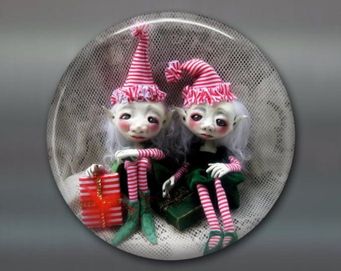 "3.5"" gothic doll fridge magnet, large magnet, kitchen decor, gothic art decor, stocking stuffer gift for her MA-AD40"