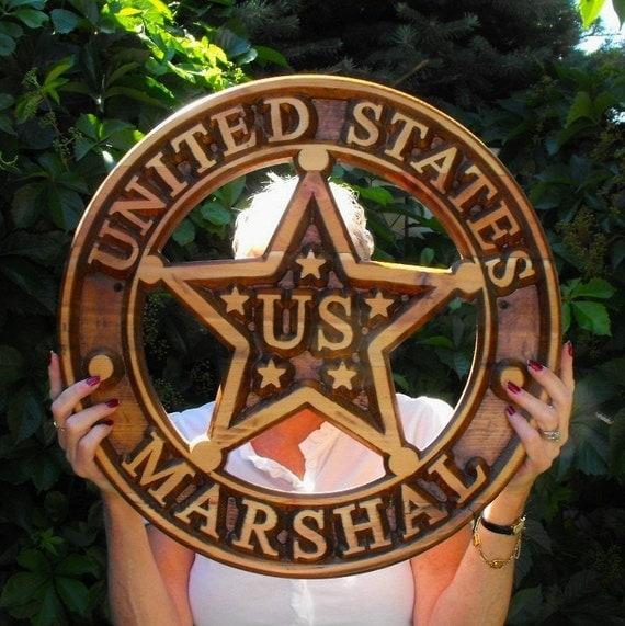 United States Marshal Carved Wood Badge