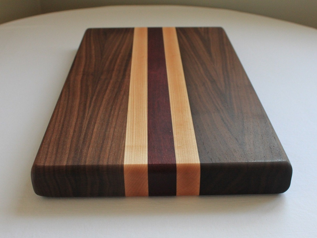 walnut/maple/purpleheart cutting board by onetreewoodworking, Kitchen design