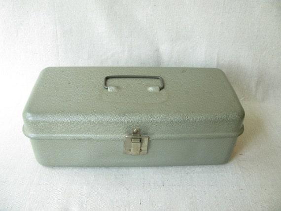 Vintage Metal Tool Box Silver