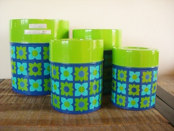 Vintage 70s Metal Nesting Canisters Mod Blue and Green