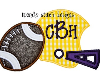 Helmet and Football Applique Design Machine Embroidery Design INSTANT DOWNLOAD