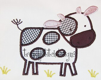 Cow in Pasture Applique Design Machine Embroidery Design INSTANT DOWNLOAD