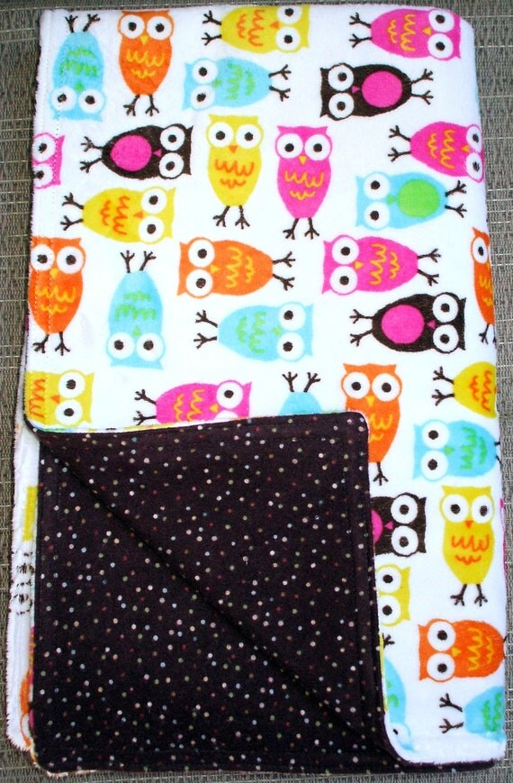 """Baby Blanket - Colorful Owls on White Minky with Brown Flannel with Polka Dots, 29"""" X 35"""""""