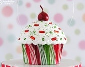 Cupcake Ornament / Christmas Ornament  - Mini Red and Green Swirly Stripe #CUP124