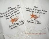 WEDDING GIFT, Embroidered Wedding Handkerchief, SeaShells, Destination Wedding, StARFISH, Gifts Wedding Handkerchiefs by Canyon Embroidery