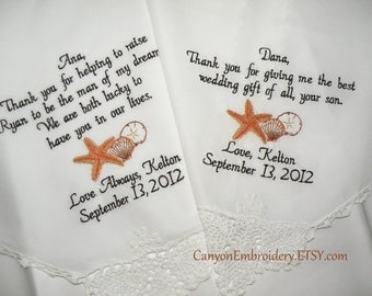 Destination Beach Wedding Two Personalized Hankerchiefs Mother of the Bride Father of the Bride - By Canyon Embroidery
