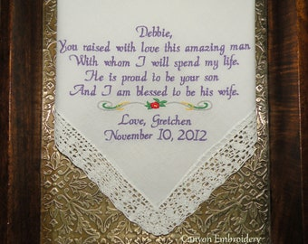 Mother In-Law Wedding Gift Embroidered Personalized Wedding Handkerchief - You Raised With Love this Amazing Man - by Canyon Embroidery