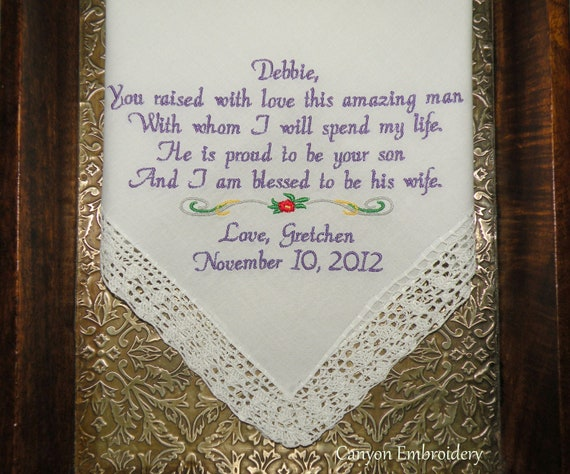 Wedding Gift For Mother In Law: Mother In-Law Wedding Gift Embroidered Personalized Wedding
