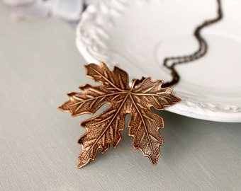 Maple Leaf Pendant Necklace. fall leaf necklace. brass maple leaf in antique copper. maple leaf long chain necklce