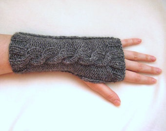 Dark Gray Gloves, Armwarmers - Fingerless, Cable Knitting - Gift for Her, for Him - Ready to Ship