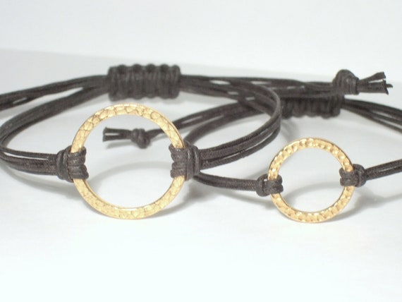 "His and Hers Bracelets, Gold Hammered Circle 1"" (25mm) and 3/4"" (20mm), 18 Waxed Cotton Cord Colors-Black,Brown,...) Eternity/Harmony/Karma"