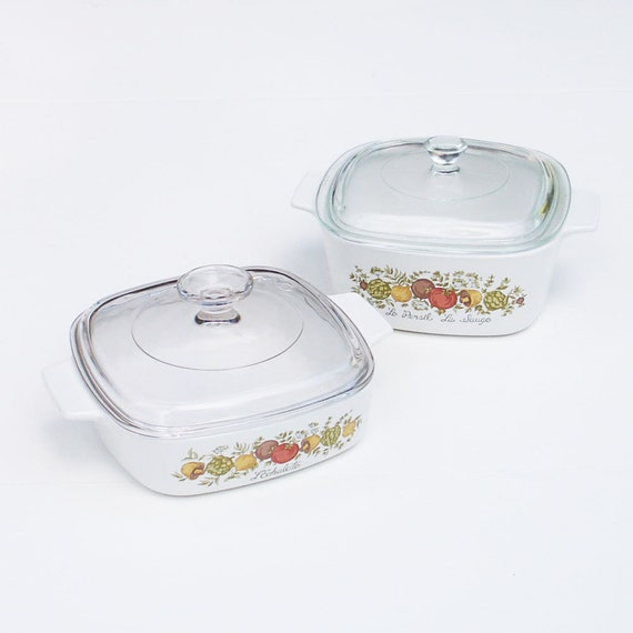 Vintage Casserole Dishes with Lids Corning Ware Spice of Life