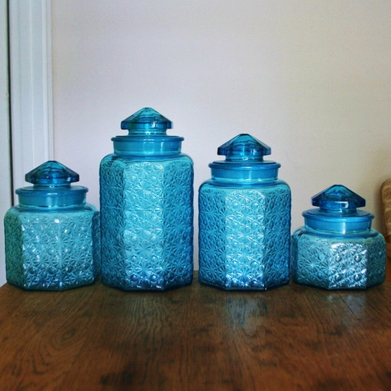 Beautiful Vintage Blue Glass Canister Set Daisy Button