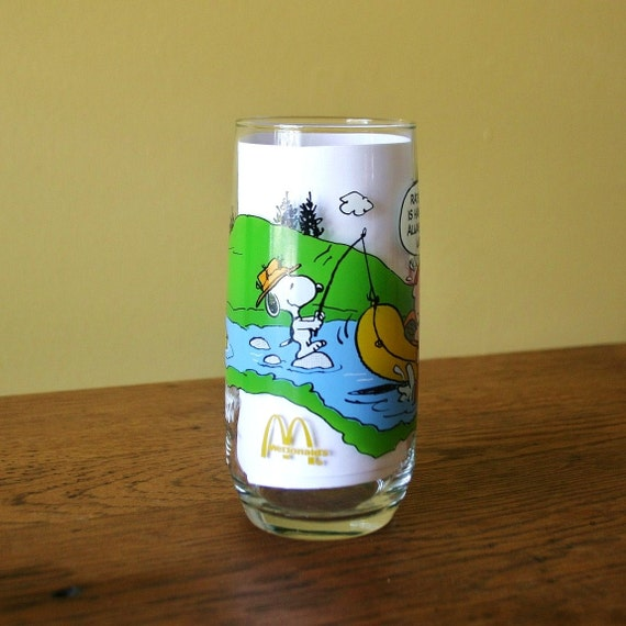 Vintage 1968 McDonalds Camp Snoopy Collection Drinking Glass