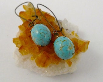 Smooth Turquoise Earrings,  Vintage Faux Turquoise, Dangle, Glass Drops, Handmade Jewelry
