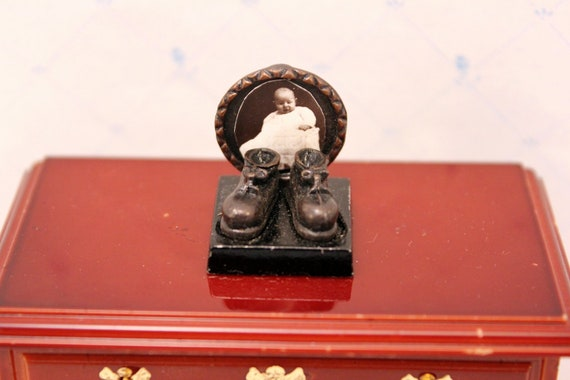 Miniature Dollhouse Picture Frame Vintage Baby Photo