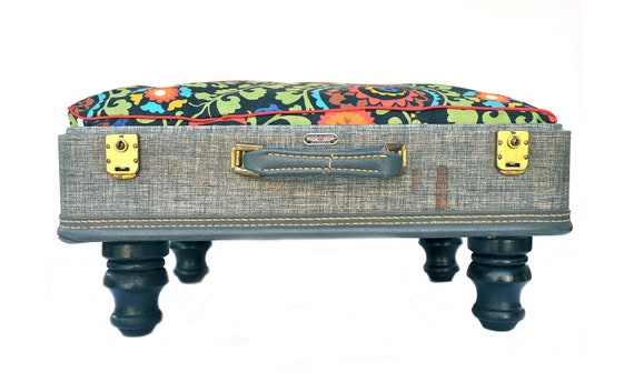 Vintage Suitcase Pet Bed - Tweed Gray with Red Green Blue Retro Floral Print Custom Cushion - Cats and Small Dogs