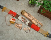 "Archery Leather Set ""Tiger in Flames"""