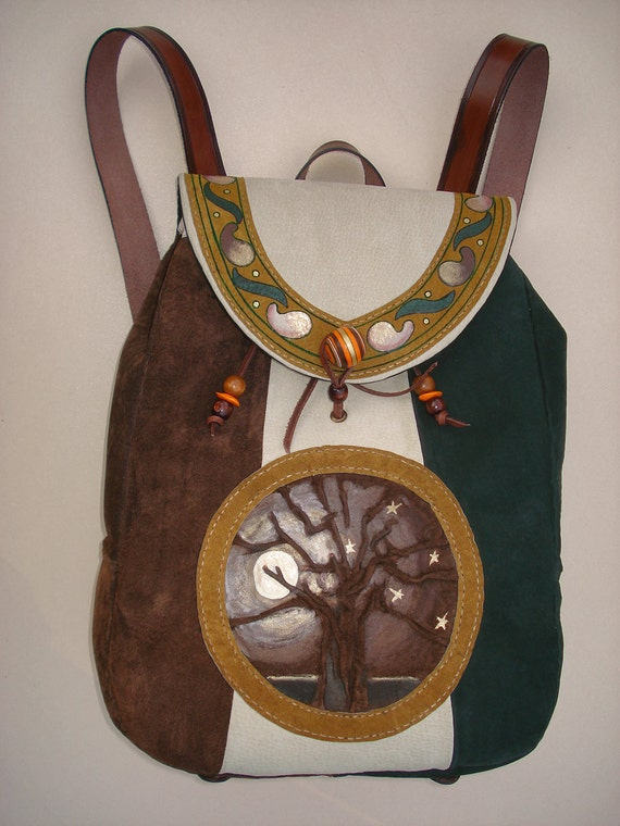 "Suede Backpack ""Full Moon in a Tree"""