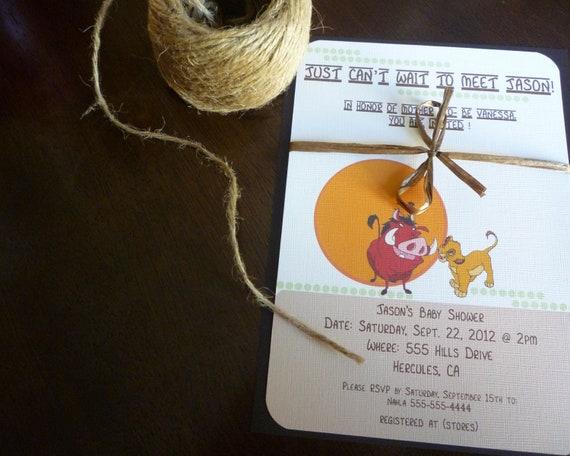 Italian Boy Name: Items Similar To Lion King Themed Baby Shower Invitations