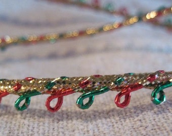 Gold RED and GREEN picot edge cord