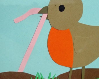 Original Hand Cut Paper Piece - Art Collage - Early Bird Gets the Worm - Robin Springtime Hard Work