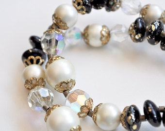 Vintage Double Strand Necklace Black and White