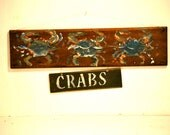 Rustic hand painTed Crab Sign