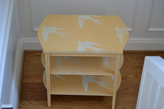 Vintage Hand Painted Yellow  3 Tier Table With Birds
