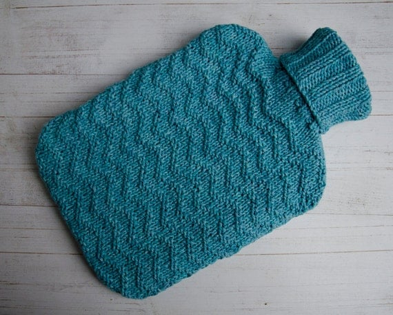 Knitted Hot Water Bottle cover in aqua texture ripple by ...