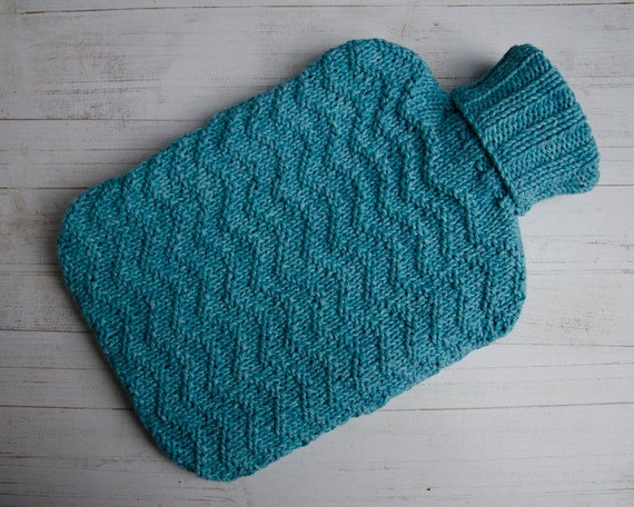 Knitted Hot Water Bottle cover in aqua texture ripple pattern 100% cotton