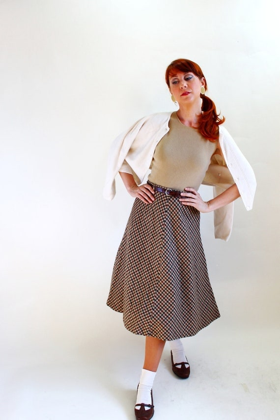 RESERVED for Leah-- 1970s Camel Brown Green Plaid skirt. Mad Men Fashion. Equestrian Fashion. Woodland. Fall Fashion. Size Small