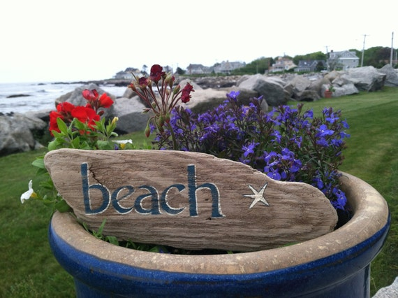 Hand Painted Reclaimed Driftwood Beach Sign