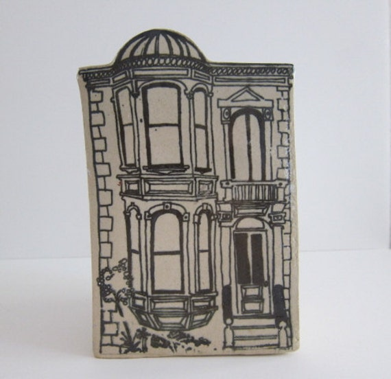 Vintage Pottery  Vase Victorian House Vase Ceramic Flower Vase Kitchen Utensil Holder Pencil Holder