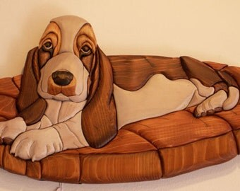 Basset Hound Handmade Intarsia Wood Dog Art