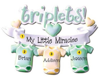 Personalized triplet etsy personalized triplets babys first christmas ornament onesie newborn baby shower gift negle Images