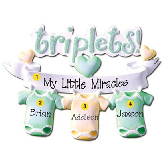 Personalized triplets babys first christmas ornament request a custom order and have something made just for you negle Gallery