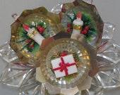 JEWELBRITE TREE ORNAMENTS, 3 Plastic in Original Box, Wax-Like Decorations, Vintage Christmas