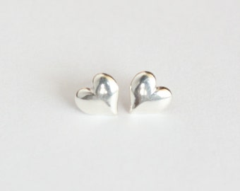 Tiny heart earrings, sterling silver heart post earrings, wedding jewelry bridesmaid gifts, birthday anniversary, mother daughter sister