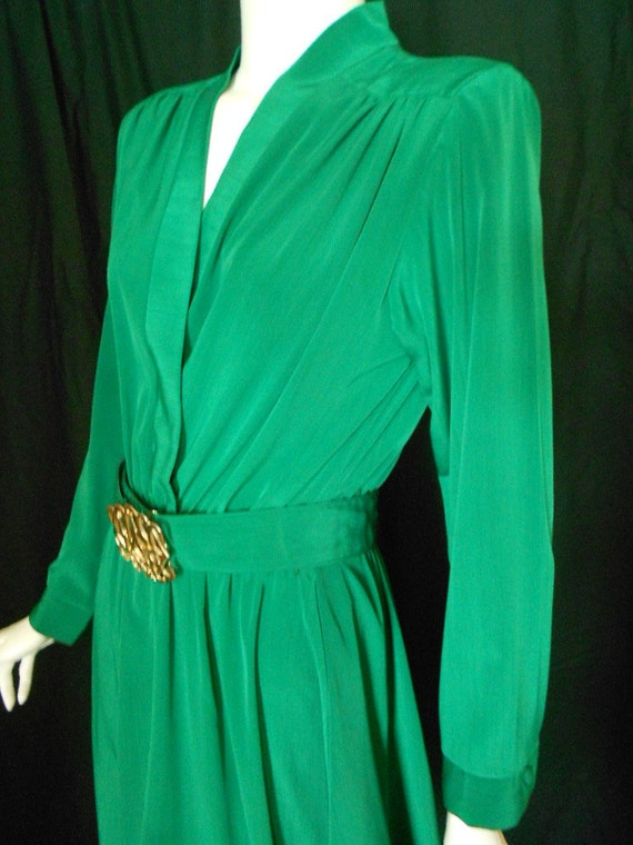 Vintage Emerald Green Disco Dress Gold Clasp Med Large 1970s 1980s