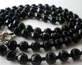 Long Jet Black Glass Bead Necklace