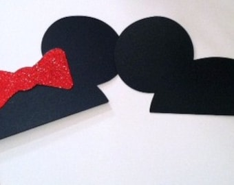 Photo Booth Prop Set Mr and Mrs Mouse Ears on a stick DIY KIT