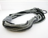 Scarf necklace loop scarf infinity neck wrap neck warmer knitted grey black knit necklace fiber necklace fiber art curationnation therougett